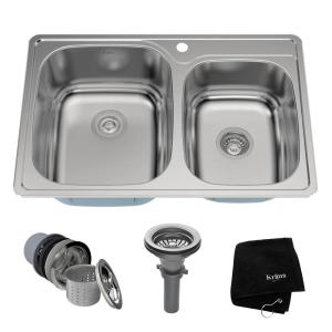 Kraus Drop-In Stainless Steel 33 inch 1-Hole 60/40 Double Bowl Kitchen Sink Kit by KRAUS