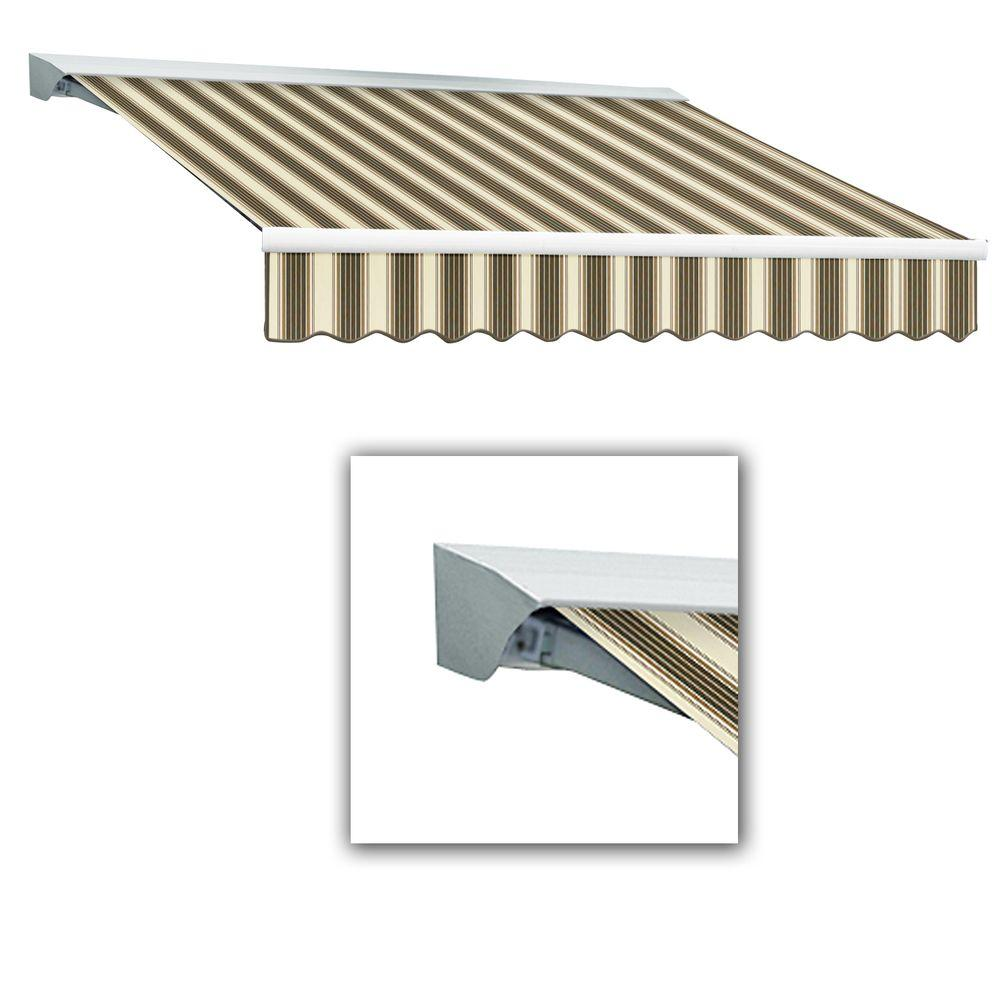 AWNTECH 8 ft. Destin-LX Manual Retractable Acrylic Awning with Hood (84 in. Projection) in Brown/Tan Multi