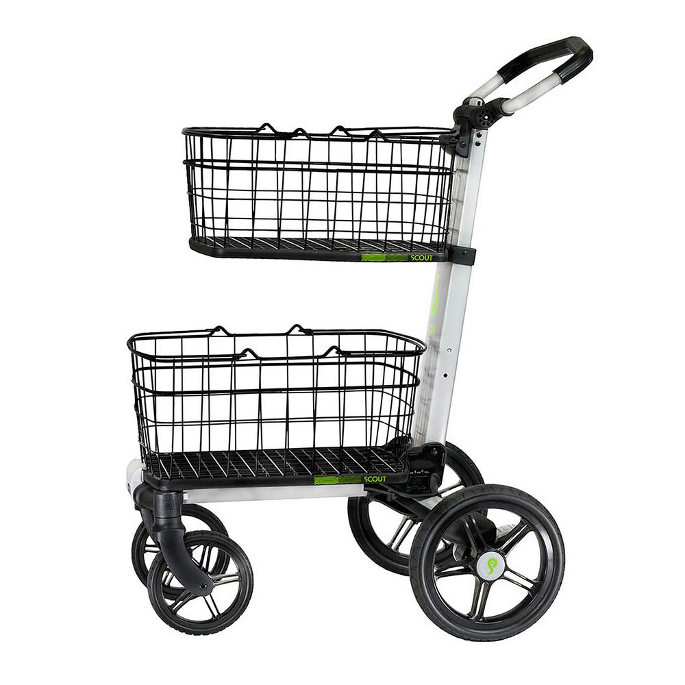 ad8ca6e8c87e Folding Aluminum Cleaning Cart with Removable Baskets Swivel Front Wheels
