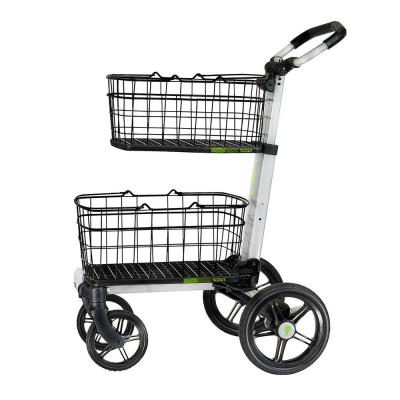 Folding Aluminum Cleaning Cart with Removable Baskets Swivel Front Wheels