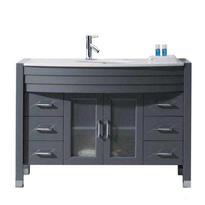 Ava 47 in. W Bath Vanity in Gray with Stone Vanity Top in White Stone with Round Basin and Faucet