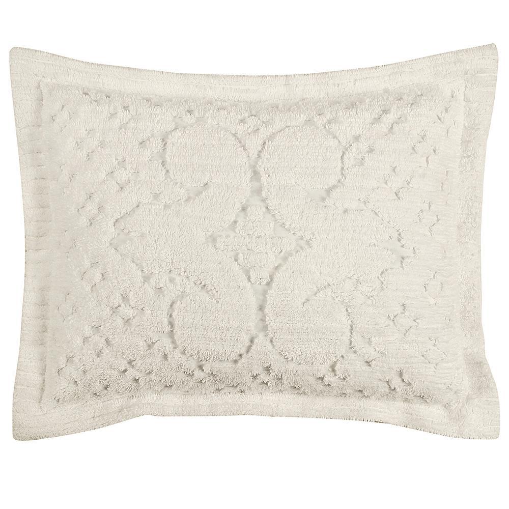 Ashton Collection in Medallion Design Ivory Standard 100% Cotton Tufted Chenille Sham