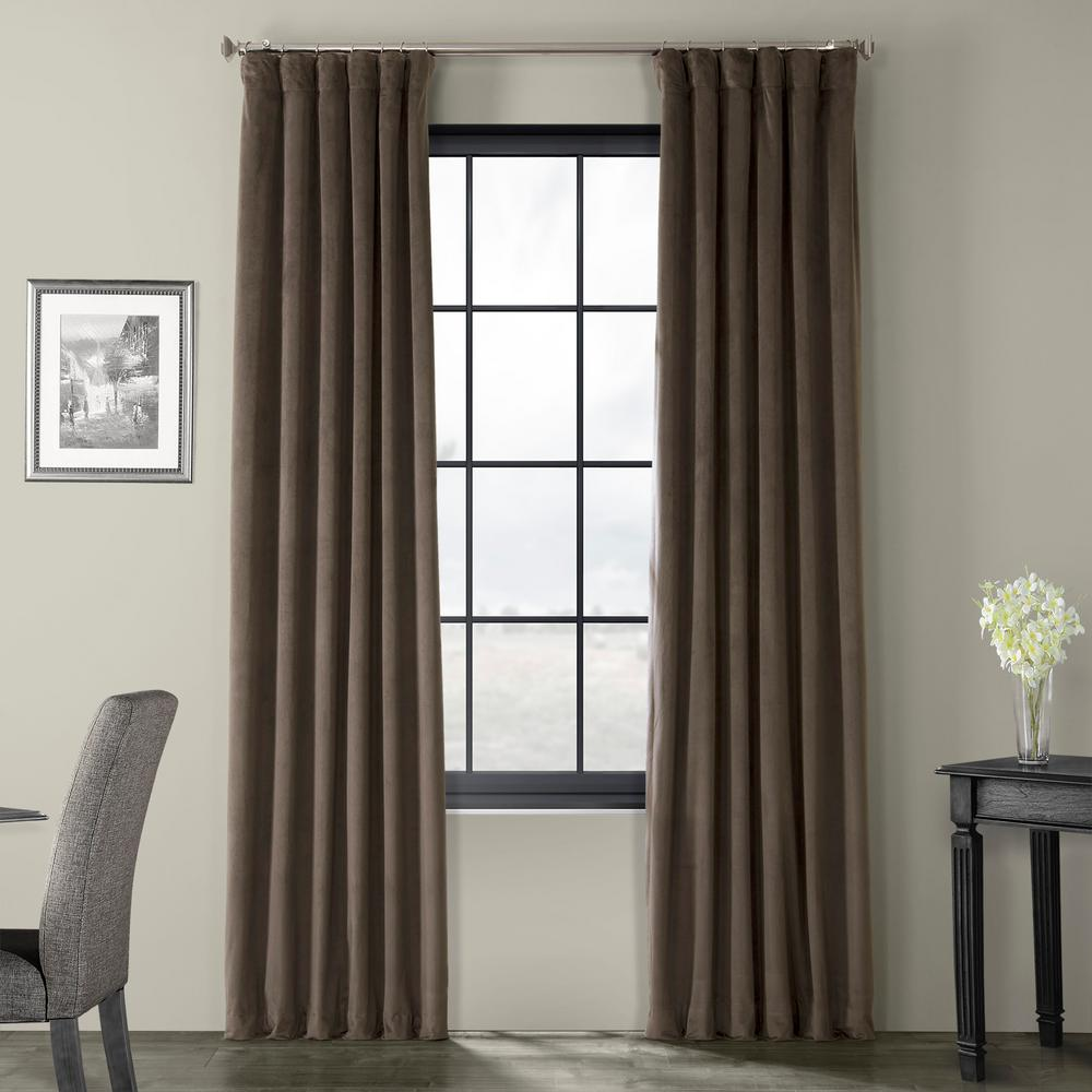 Exclusive Fabrics & Furnishings Blackout Signature Gunmetal Grey Blackout Velvet Curtain - 50 in. W x 108 in. L (1 Panel)