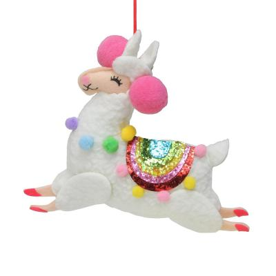 7 in. Plush Stuffed Llama with Rainbow Saddle and Pink Poms Christmas Ornament