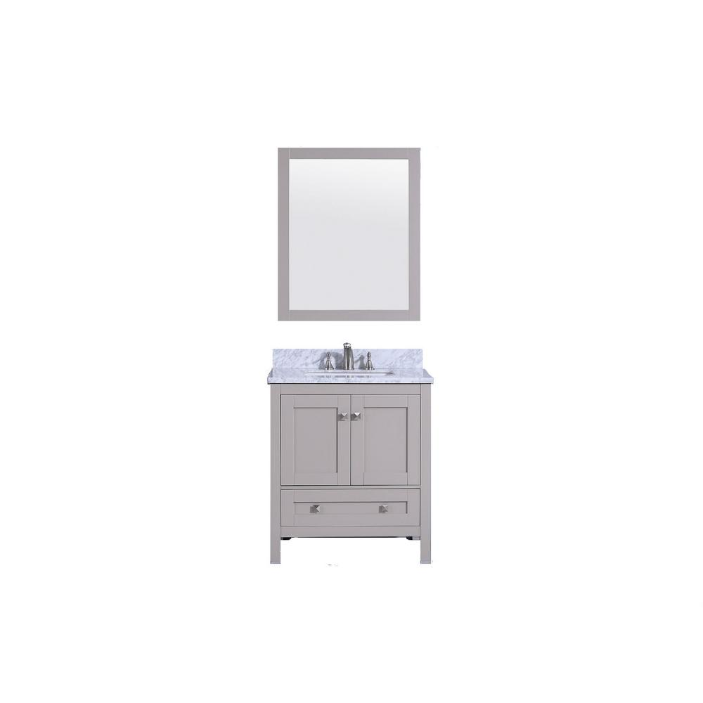31 in. W x 22 in. D Vanity in Warm Gray with Marble Vanity Top in white and gray with White Basin and Mirror