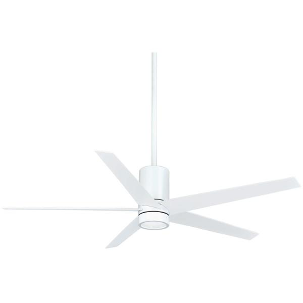Symbio 56 in. Integrated LED Indoor Flat White Ceiling Fan with Light with Remote Control