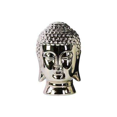9.25 in. H Buddha Decorative Sculpture in Champagne Polished Chrome Finish
