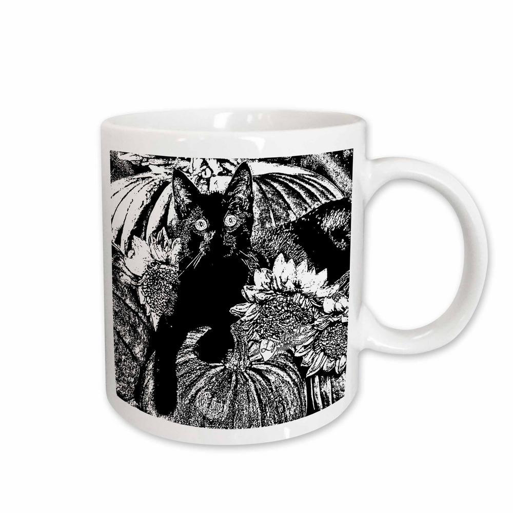 White Ceramic Black And Cat Mug