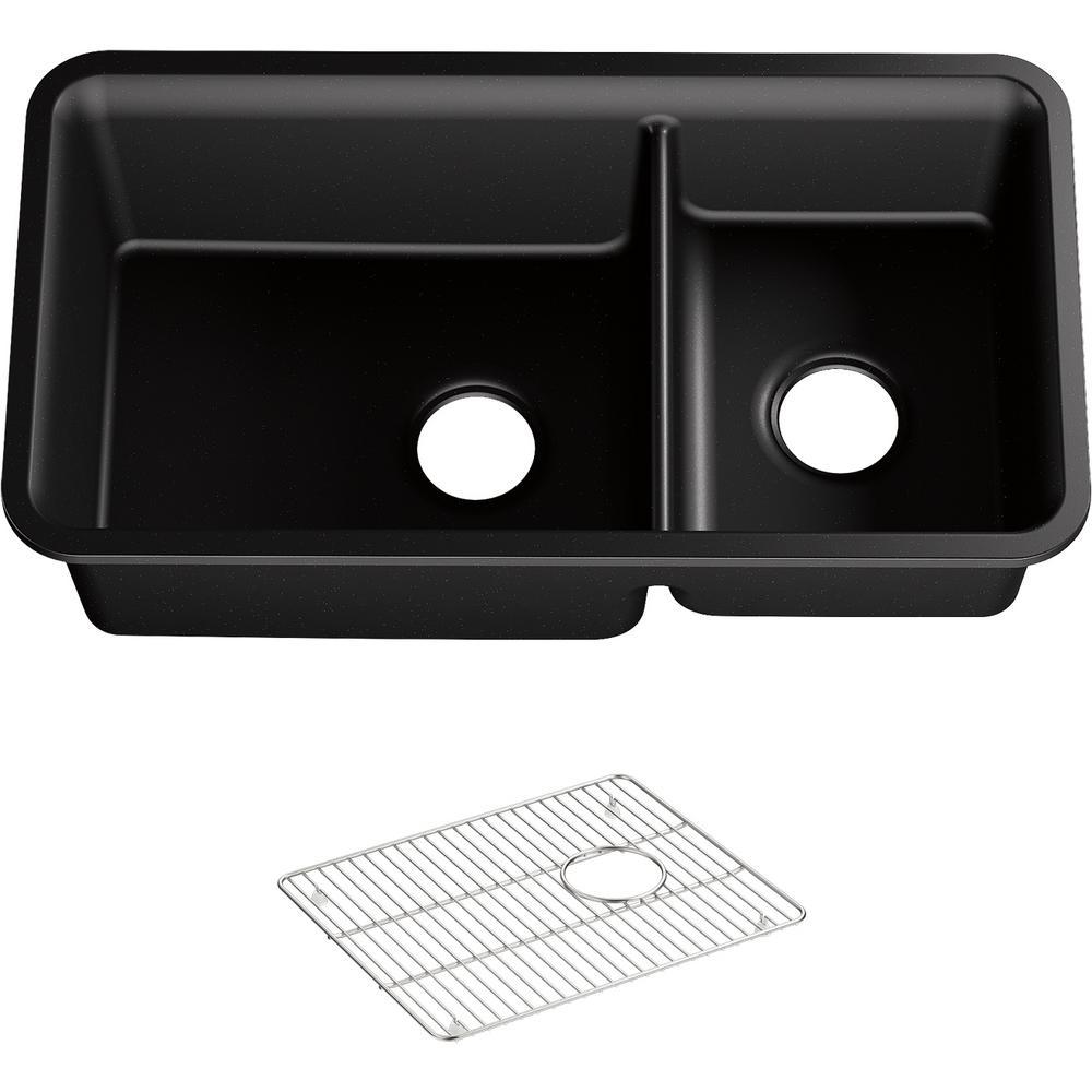 Cairn Undermount Neoroc Granite Composite 33.5 in. Bowl Double Bowl Kitchen Sink Kit in Matte Black