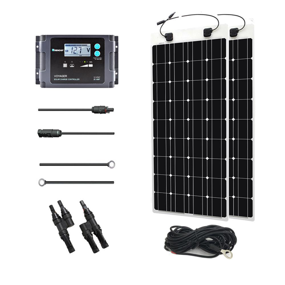 200-Watt 12-Volt Monocrystalline Off-Grid Solar System Solar Marine Kit