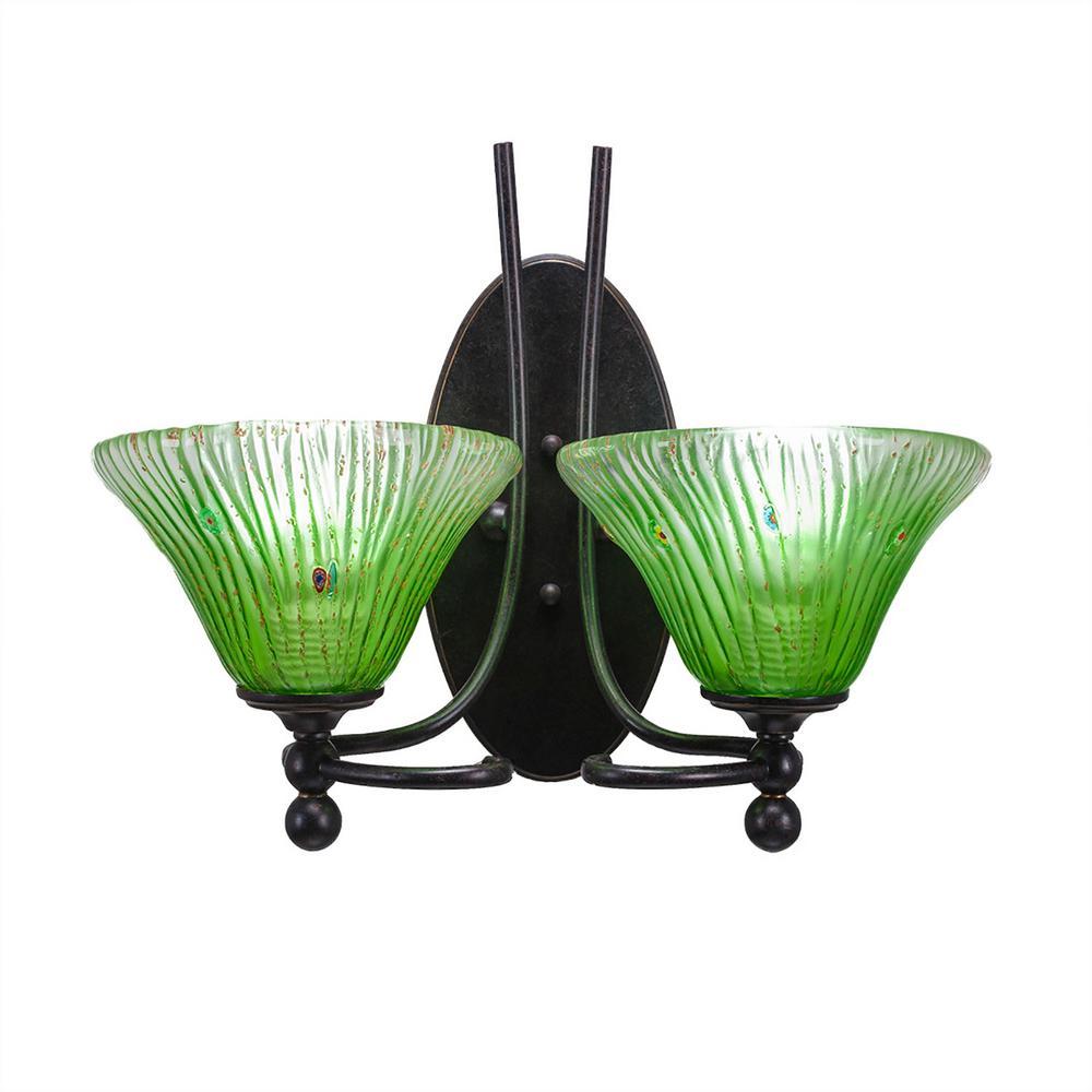Cambridge 2-Light Dark Granite Sconce with Kiwi Green Ribbed Glass ...
