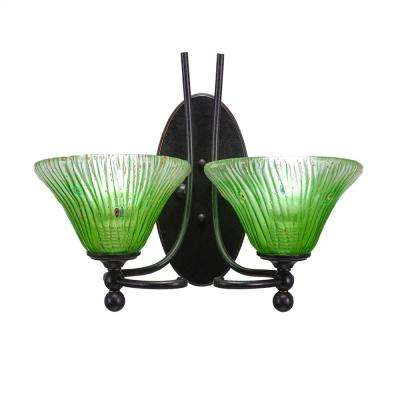 2-Light Dark Granite Sconce with Kiwi Green Ribbed Glass