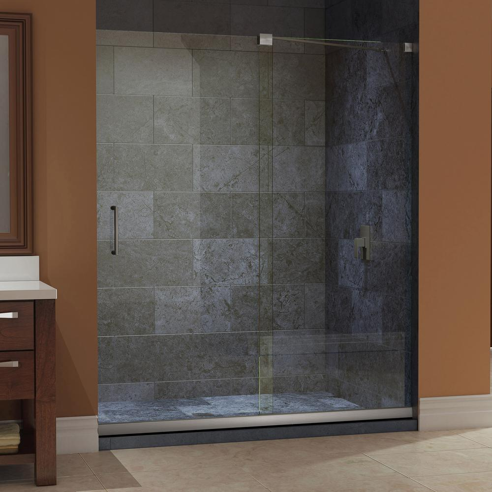 DreamLine Mirage 30 in. x 60 in. x 74.75 in. Semi-Framed Sliding Shower Door in Brushed Nickel with Left Drain White Acrylic Base