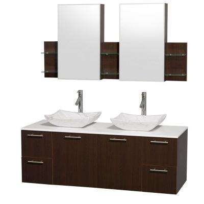 Amare 60 in. Double Vanity in Espresso with Man-Made Stone Vanity Top in White and Carrara Marble Sinks