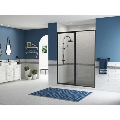 Legend 55.5 in. to 57 in. x 69 in. Framed Hinged Shower Door with Inline Panel in Matte Black with Clear Glass