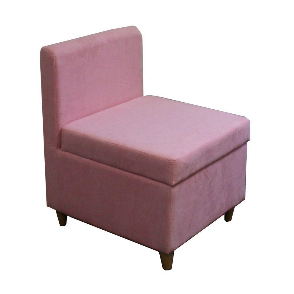 Pink Polyurethane Storage Accent Chair