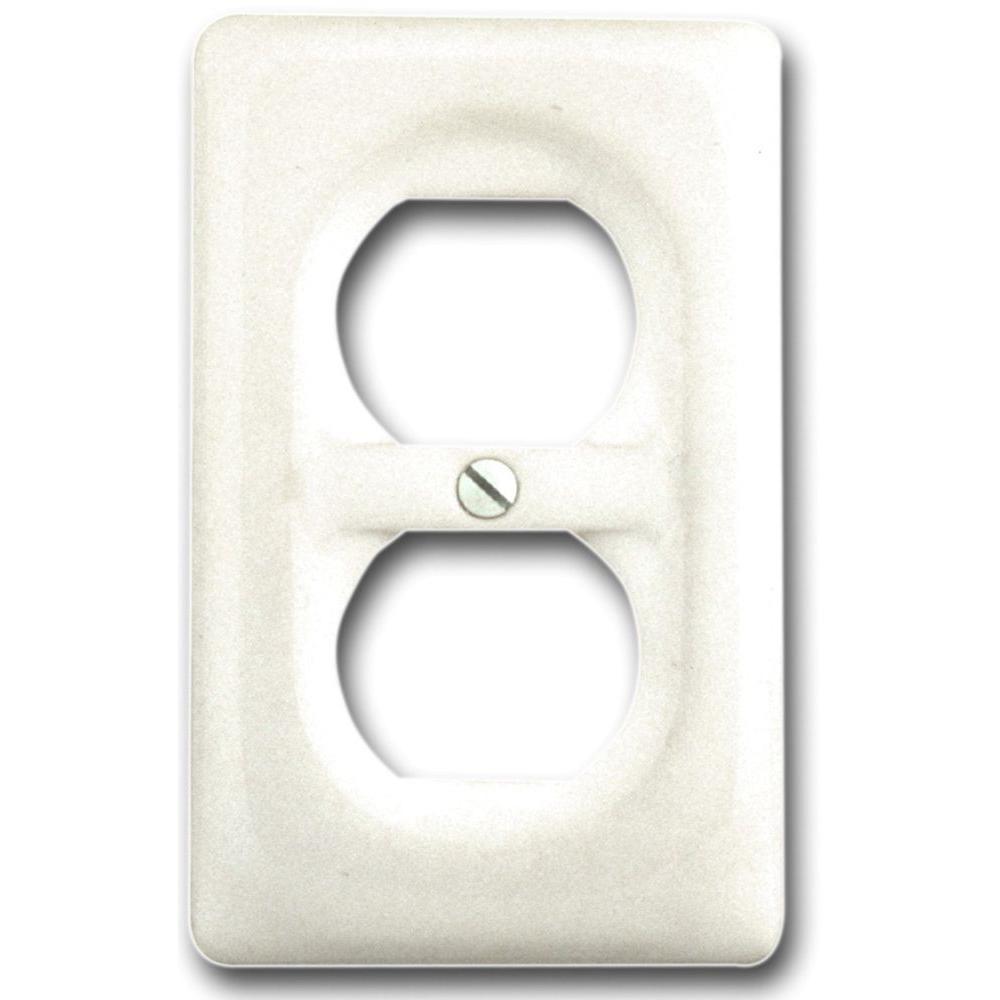 Classic Ceramic 1 Duplex Wall Plate - White
