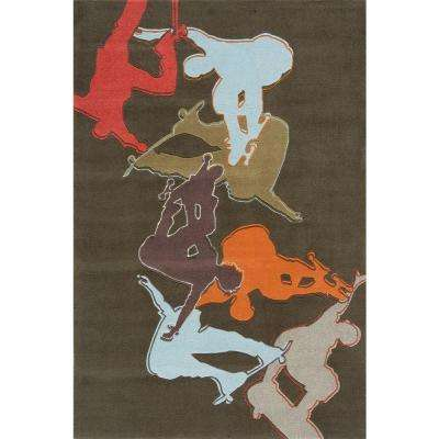 Young Buck Collection Concrete 8 ft. x 10 ft. Indoor Area Rug