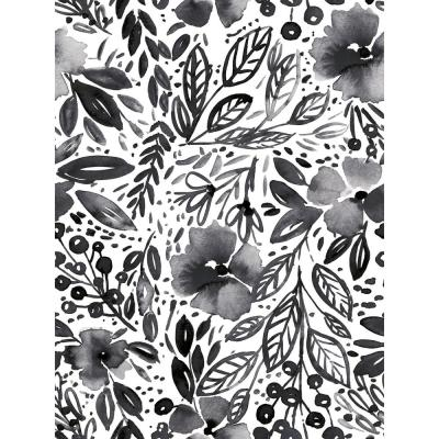 Clara Jean April Showers Black, White Vinyl Peelable Roll (Covers 28.29 sq. ft.)