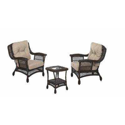 Cappuccino Collection 3-Piece Wicker Patio Conversation Set with Light Brown Cushions