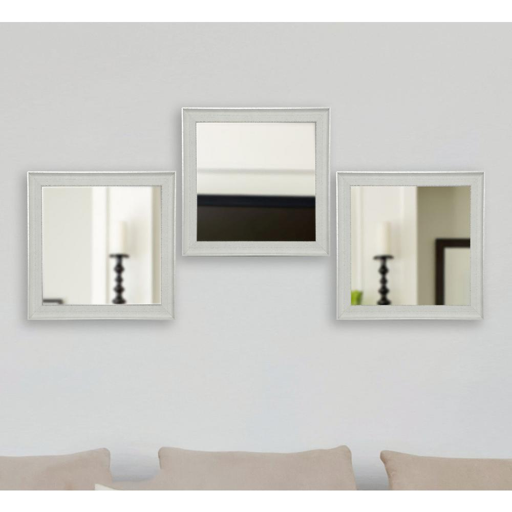Vintage White Square Mirrors Set Of 3
