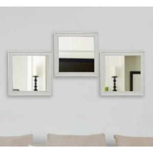 19.5 inch x 19.5 inch Vintage White Square Mirrors (Set of 3) by