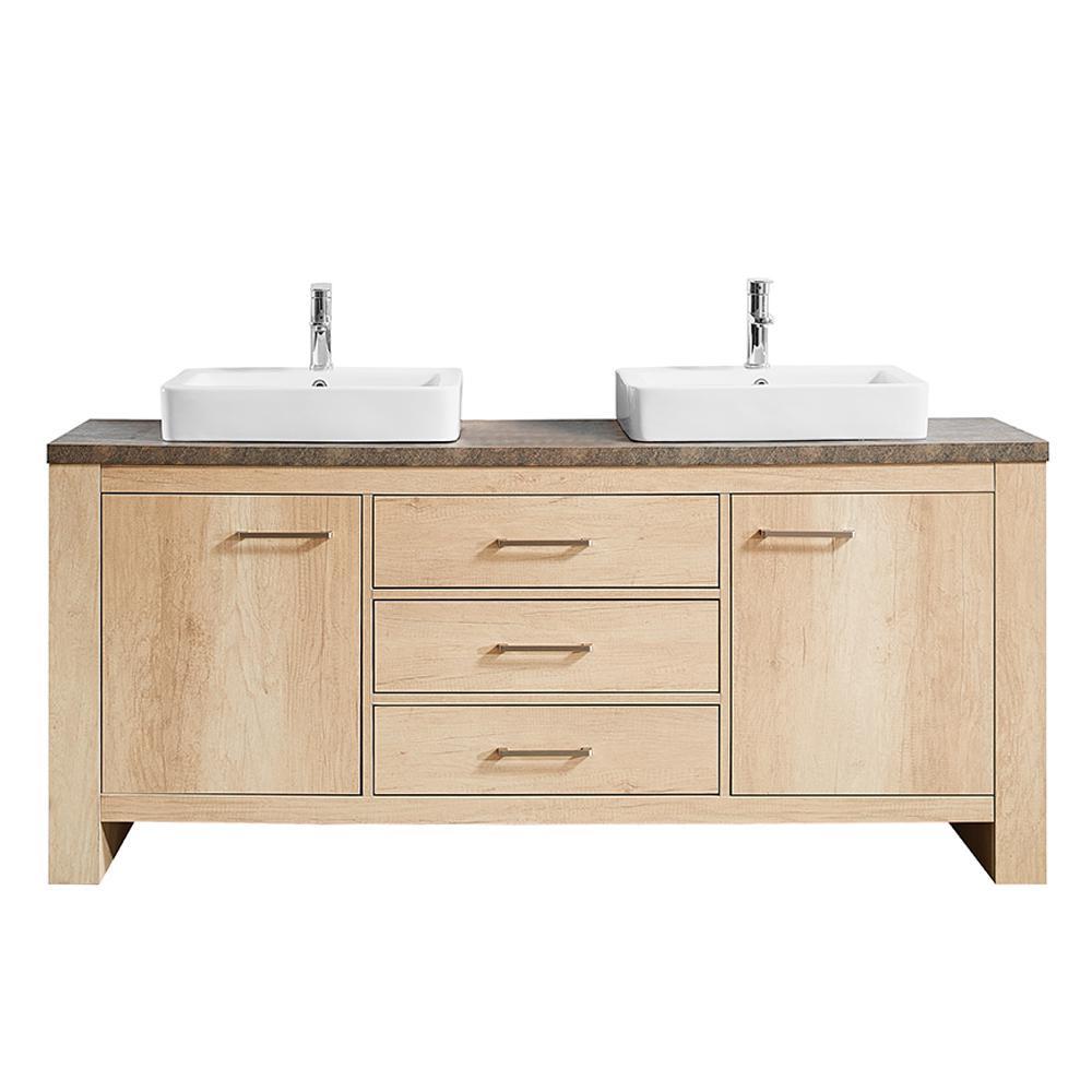 Alpine 72 in. W x 21 in. D Bath Vanity in Oak with Melamine Vanity Top in Rustic Marble with White Basins