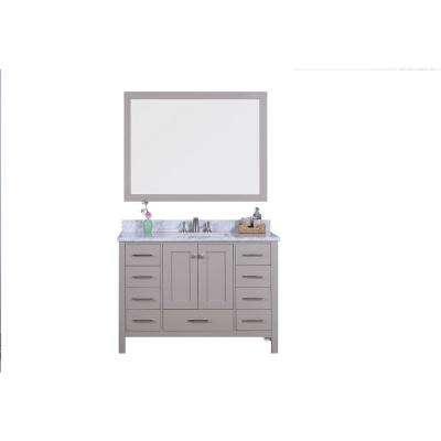 49 in. W x 22 in. D Vanity in Warm Gray with Marble Vanity Top in White and Gray with White Basin and Mirror