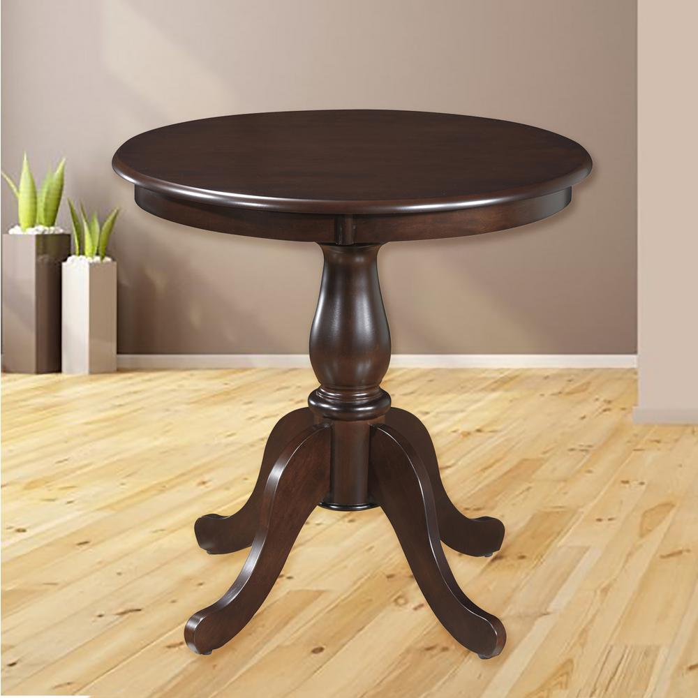 Round Pedestal Dining Table In Espresso