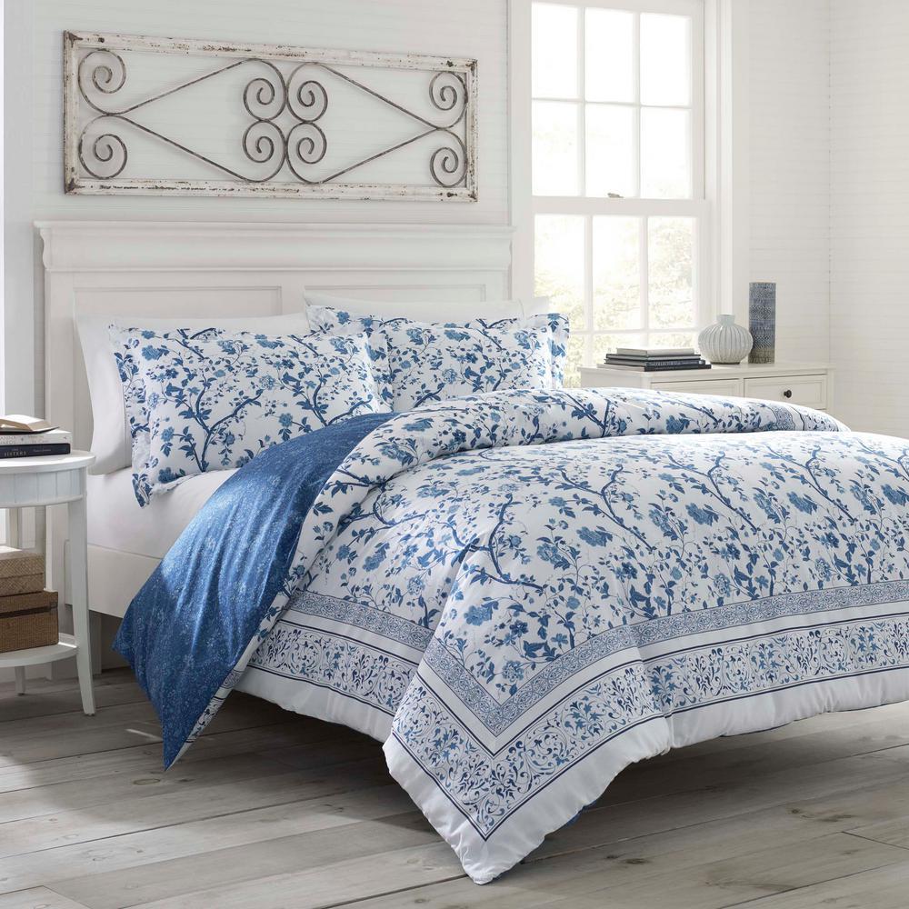 Comforter Sets Queen Ashley: Laura Ashley Charlotte Blue 4-Piece Queen Comforter Sets