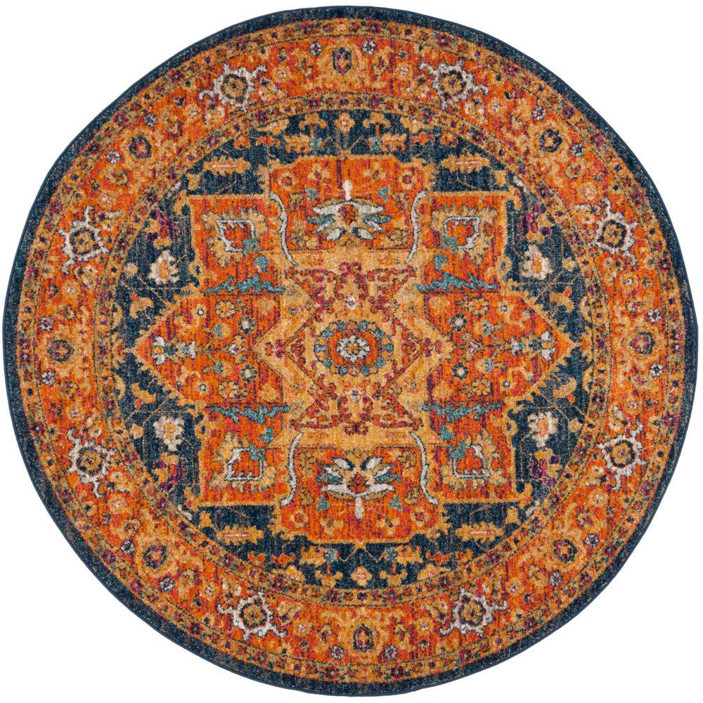 Evoke Blue/Orange 5 ft. x 5 ft. Round Area Rug