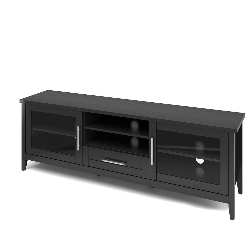 Corliving Jackson 71 In Black Wood Grain Tv Stand With 1 Drawer Fits Tvs Up To 80 In With Storage Doors Tjk 604 B The Home Depot