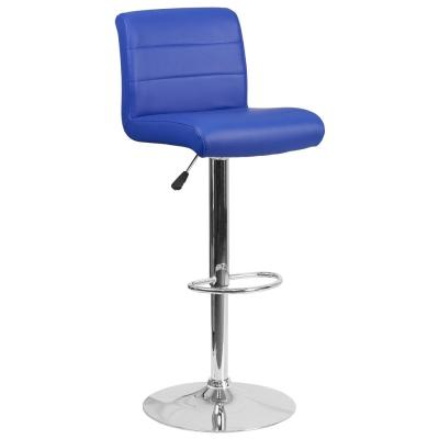 34.50 in. Adjustable Height Blue Cushioned Bar Stool