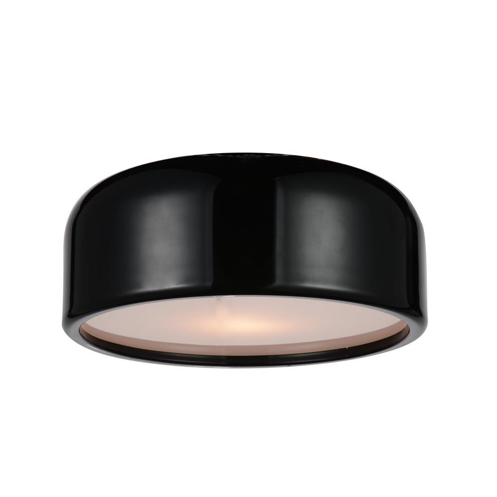 Campton 2-Light Black Flush Mount