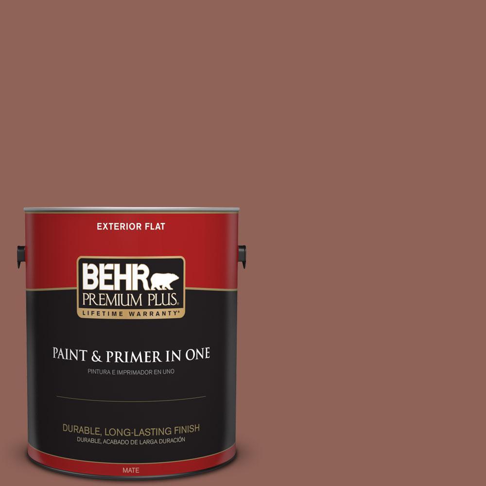 BEHR Premium Plus 1-gal. #BXC-57 Raw Sienna Flat Exterior Paint