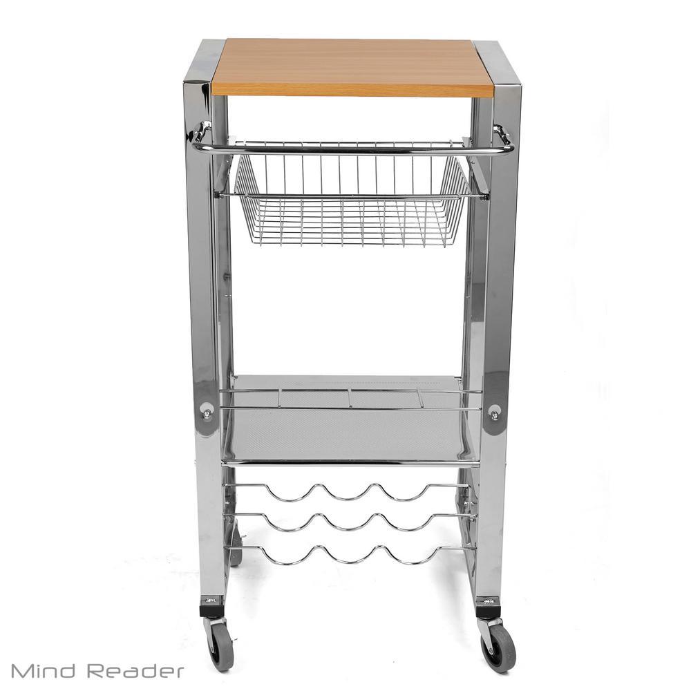 Mind Reader Silver Chop Block Mobile Kitchen Cart