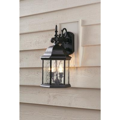 9.5 in. 2-Light Oil-Rubbed Bronze LED Decorative Water Glass Outdoor Wall Lantern Sconce with Fixed Flame Tip