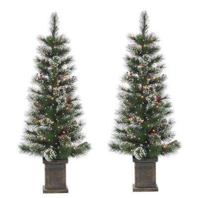 S/2 4 ft. Potted Hard Mixed Needle Loveland Spruce Artificial Christmas Tree with 50 Clear White Lights