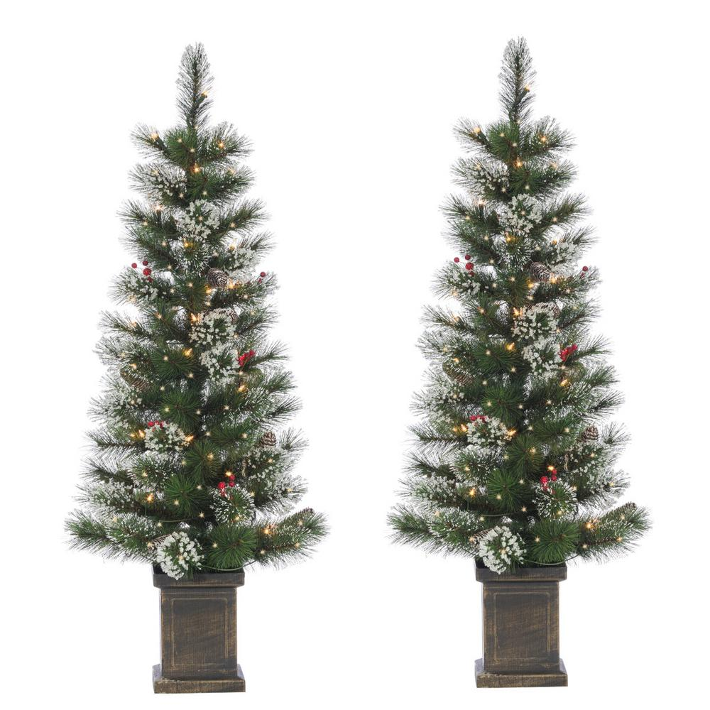 2 Ft White Christmas Tree: Sterling S/2 4 Ft. Potted Hard Mixed Needle Loveland