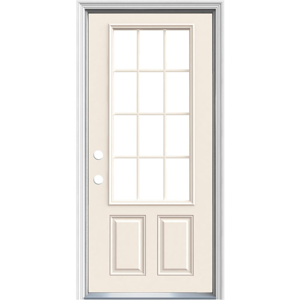 jeld wen 36 in x 80 in 12 lite primed steel prehung right hand inswing prehung front door with. Black Bedroom Furniture Sets. Home Design Ideas