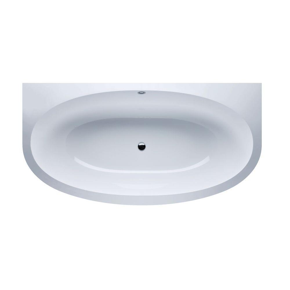 Aquatica 6.35 ft. EcoMarmor Stone Center Drain Oval Bathtub in White