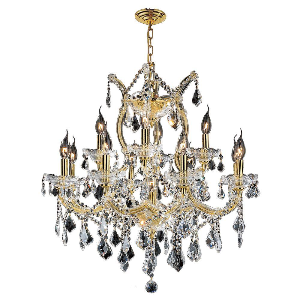 Worldwide Lighting Maria Theresa Collection 13-Light Polished Gold and Crystal Chandelier