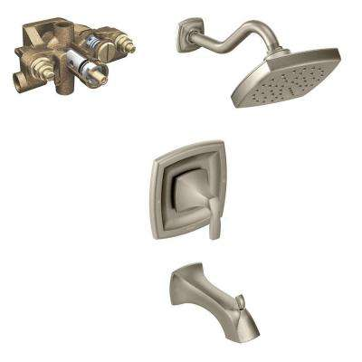Voss Single-Handle 1-Spray Moentrol Tub and Shower Faucet Trim Kit with Valve in Brushed Nickel