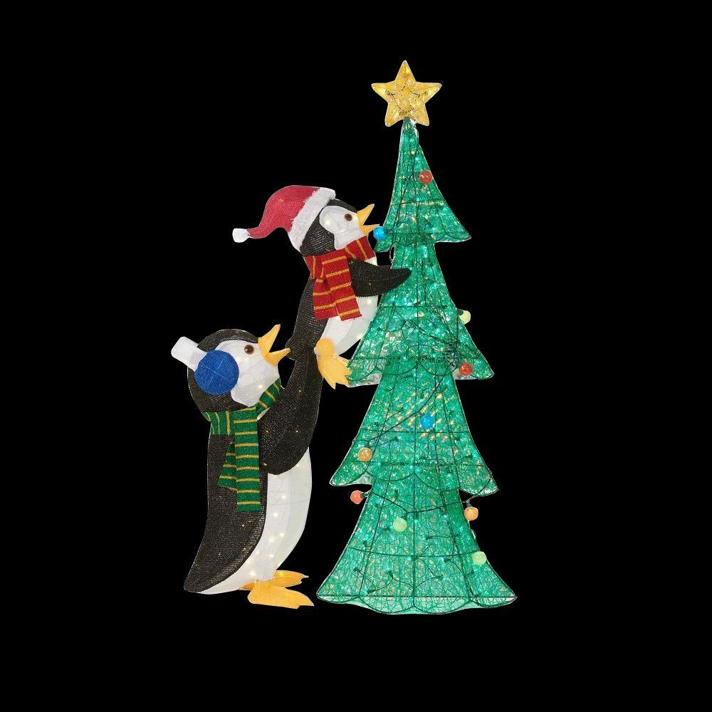 Home accents holiday 62 in led lighted tinsel penguins for Christmas yard ornaments
