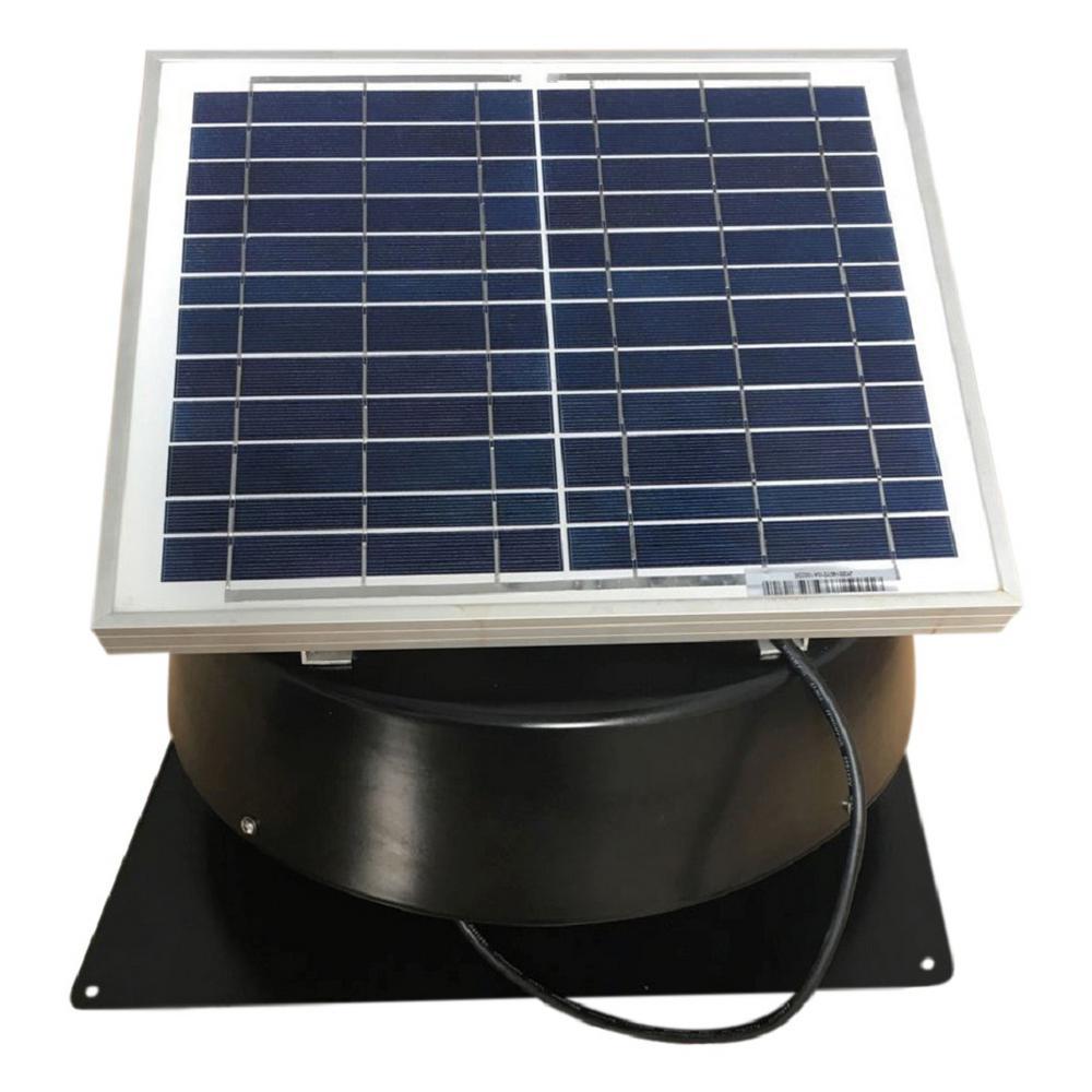 660 CFM Black Solar Powered Roof Mount Exhaust Fan