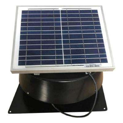 660 CFM Black Solar Powered Roof Mount Exhaust Fan