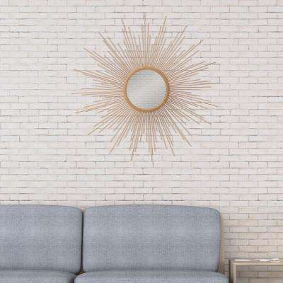 Spoked Sunburst Round Gold Decorative Mirror