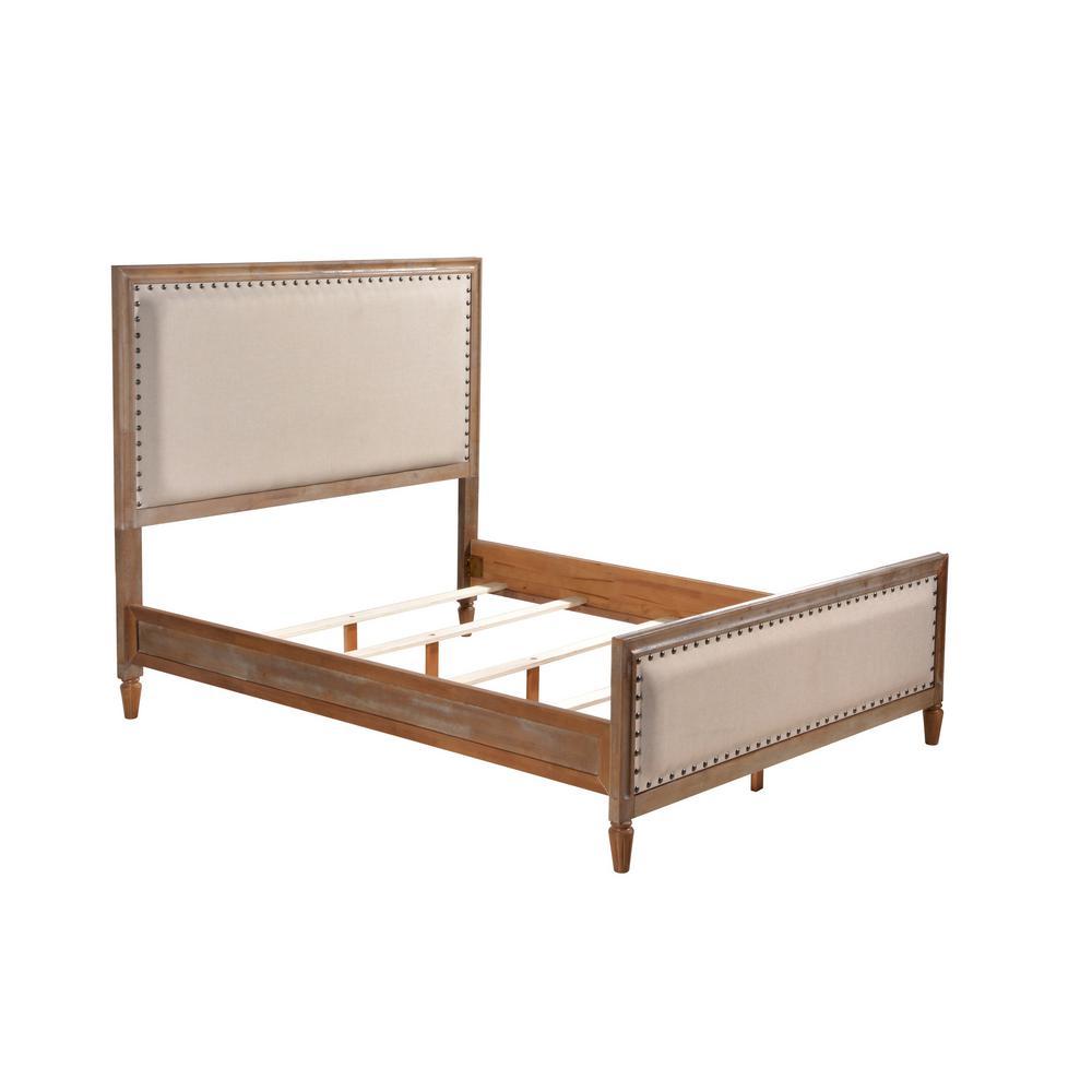 Oak Queen Set Solid Wood Upholstered Trim Oak Wash