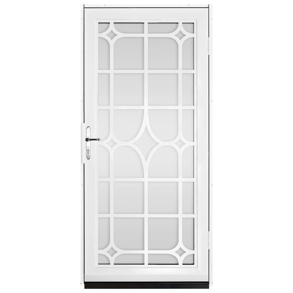 Unique Home Designs 36 In. X 80 In. Lexington White Surface Mount Steel Security  Door With Shatter Resistant Glass And Nickel Hardware IDR30000362134   The  ...
