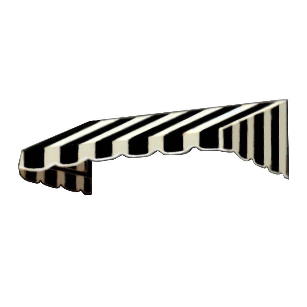 AWNTECH 30 ft. San Francisco Window/Entry Awning (44 in. H x 48 in. D) in Black/White Stripe